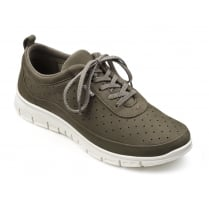Dark stone nubuck leather flat lace up trainer style shoe