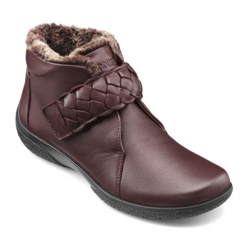 Hotter Daydream Maroon Wide Fit Leather Flat Ankle Boot