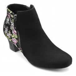 Delight Black Brocade Std Fit Suede Heeled Ankle Boot