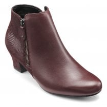 Delight Maroon Std Fit Leather Heeled Ankle Boot
