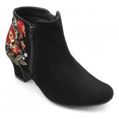 Delight Wide Fit Black Floral Suede Heeled Ankle Boot