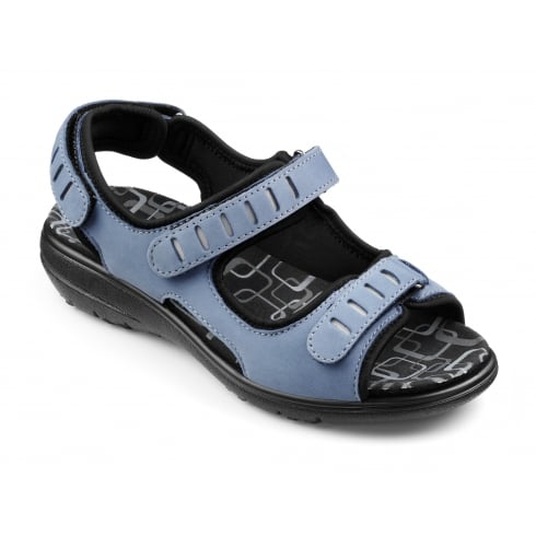 Hotter Denim blue nubuck leather flat velcro sandal
