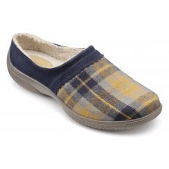 Devotion Navy Check Std Fit Faux Fur Lined Slipper