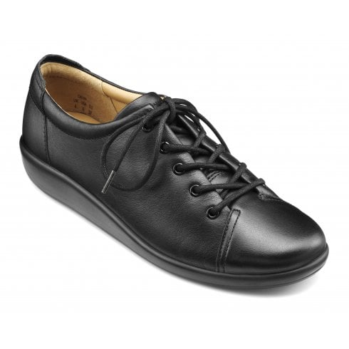 Hotter Dew Black EEE Fit Leather Flat Lace Up Shoe
