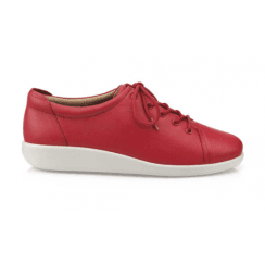 Dew Blood Orange Wide Fit Flat Leather Lace Up Shoe