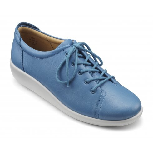 Hotter Dew French Blue EEE Fit Leather Flat Lace Up Shoe