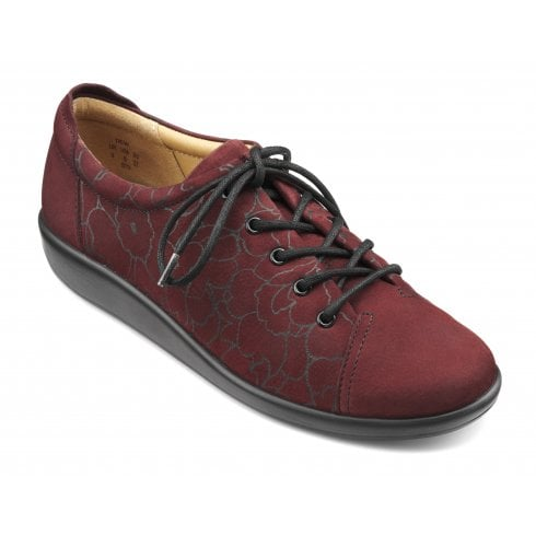 Hotter Dew Maroon Nubuck Std Fit Lace Up Shoe