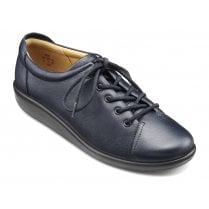 Dew Navy Leather Wide Fit Lace Up Shoe