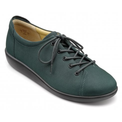Hotter Dew Std Fit Forest Green Nubuck Flat Lace Up Shoe