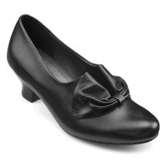 Donna Black Leather Std Fit Heeled Court Shoe