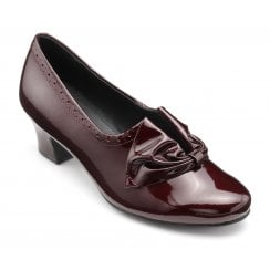 Donna Burgundy Std Fit Patent Leather Heeled Court Shoe