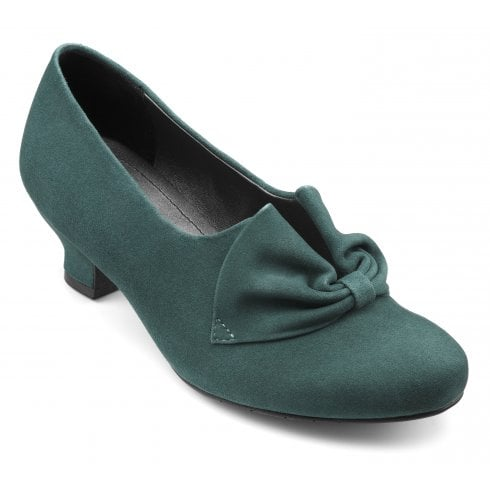 Hotter Donna Deep Teal Suede Std Fit Heeled Court Shoe