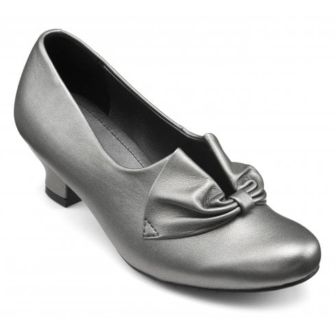 Hotter Donna Pewter Leather Std Fit Heeled Court Shoe