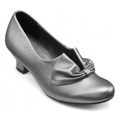 Donna Pewter Leather Wide Fit Heeled Court Shoe
