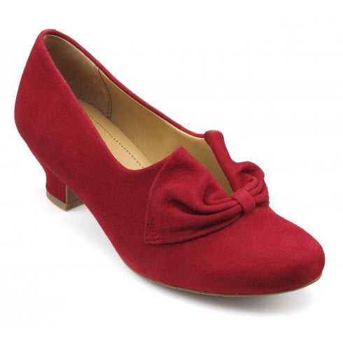 Hotter Donna Tango Red Suede Std Fit Heeled Court Shoe