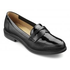Dorset Black Patent Leather Std Fit Flat Loafer Shoe