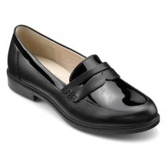 Dorset Black Patent Leather Wide Fit Flat Loafer Shoe