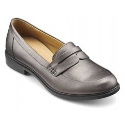 Dorset Gunmetal Metallic Leather Std Fit Flat Loafer Shoe