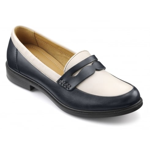 Hotter Dorset Navy/Cream Leather Flat Loafer Style Shoe
