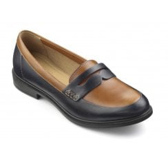 Dorset Navy/Tan Leather Std Fit Flat Loafer Shoe
