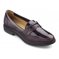 Dorset Plum Patent Leather Std Fit Flat Loafer Shoe
