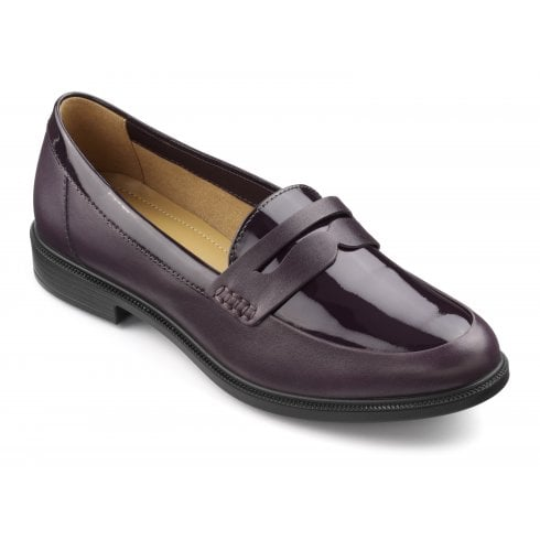 Hotter Dorset Plum Patent Leather Wide Fit Flat Loafer Shoe