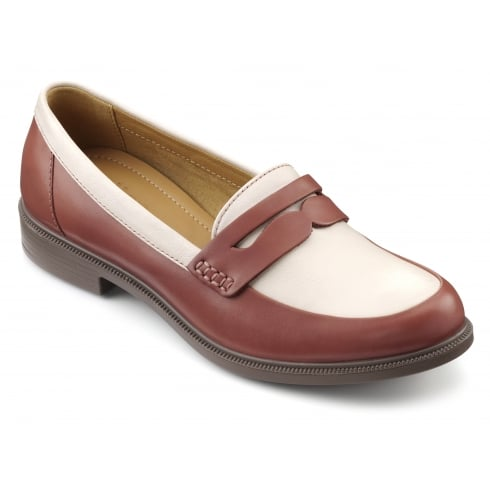 Hotter Dorset Salmon/Cream Leather Flat Loafer Style Shoe