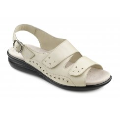 Easy Beige Leather Flat Velcro Sandal