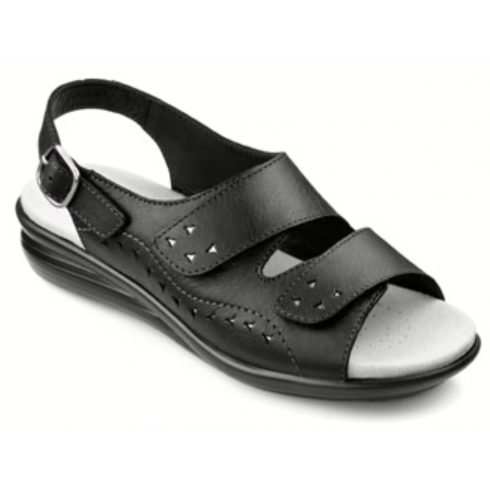 Hotter Easy Black Leather Flat Velcro Sandal