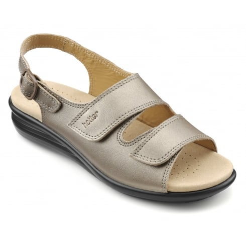 Hotter Easy Pale Bronze Leather Flat Velcro Sandal