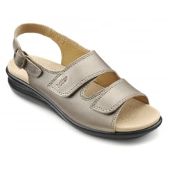 Easy Pale Bronze Leather Flat Velcro Sandal