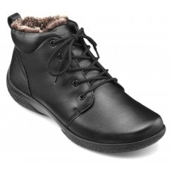Ellery Black Leather Wide Fit Lace Up Ankle Boot