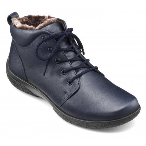 Hotter Ellery Navy Leather Std Fit Lace Up Ankle Boot