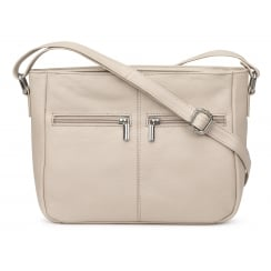 Elsie Beige Zip Front Leather Handbag