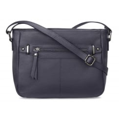 Elsie Navy Zip Front Leather Handbag