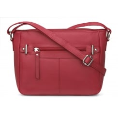 Elsie Tango Red Zip Front Leather Handbag