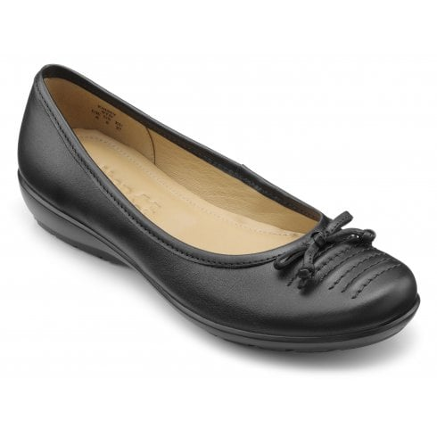 Hotter Emmy Black Wide Fit Leather Slip On Ballerina Style Shoe