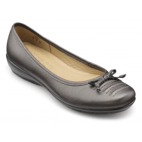 Hotter Emmy Dark Pewter Wide Fit Leather Slip On Ballerina Style Shoe
