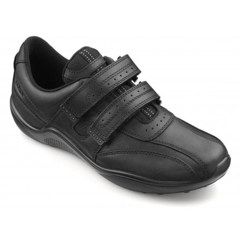 Hotter Energise Std Fit Black Leather Twin Velcro Shoe