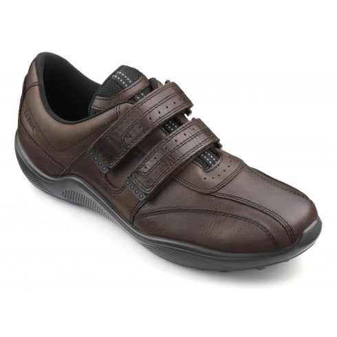 Hotter Energise Std Fit Conker Leather Twin Velcro Shoe