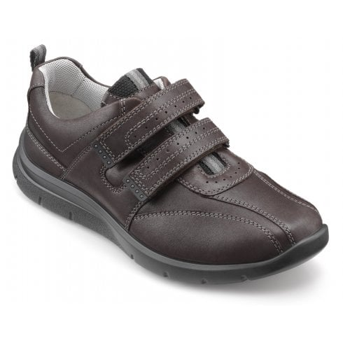 Hotter Energise Std Fit Dark Brown Leather Twin Velcro Shoe