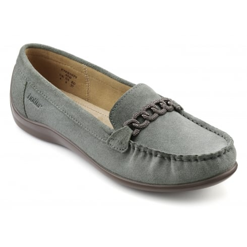 Hotter Eternity Duck Egg Suede Flat Loafer Style Shoe