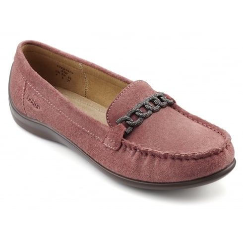 Hotter Eternity Salmon Suede Flat Loafer Style Shoe
