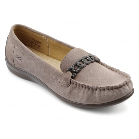 Hotter Eternity Truffle Suede Flat Loafer Style Shoe