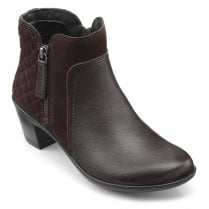 Falmouth Chocolate Std Fit Leather/Suede Heeled Ankle Boot