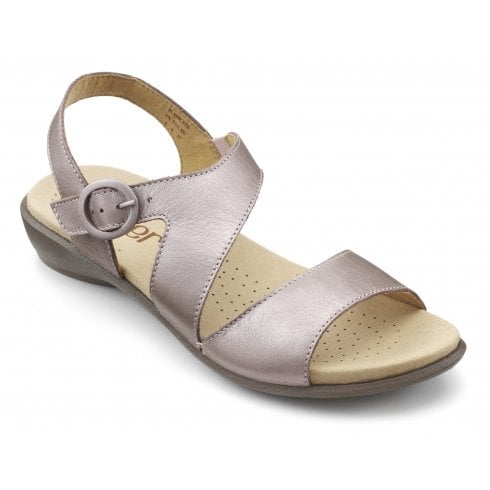 Hotter Flame Mauve Metallic Std Fit Flat Leather Sandal