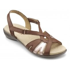 Flare Dark Tan Multi Std Fit Leather Flat Velcro Sandal
