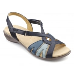 Flare Navy Multi Leather Flat Velcro Sandal