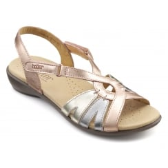Flare Rose Gold Multi Leather Flat Velcro Sandal
