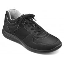 Fleet Std Fit Black Waxed Nubuck Trainer Style Shoe